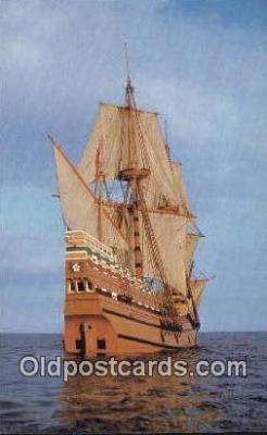 shi020729 - The Mayflower II, Plymouth, Massachusetts, MA USA Sail Boat Postcard Post Card