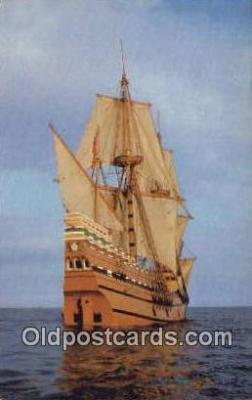 shi020730 - The Mayflower II, Plymouth, Massachusetts, MA USA Sail Boat Postcard Post Card