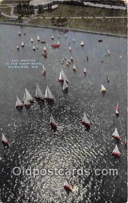 shi020764 - Sail Boating, Yacht Basin Milwaukee, Wisconsin USA Ship Postcard Post Card