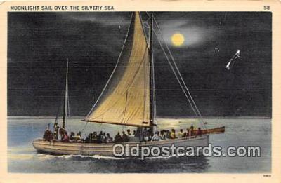 shi020770 - Moonlight Sail  Ship Postcard Post Card