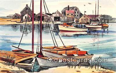 shi020785 - Lewis Bay, Hyannis, Cape Cod Mass USA Robert Brooks Ship Postcard Post Card