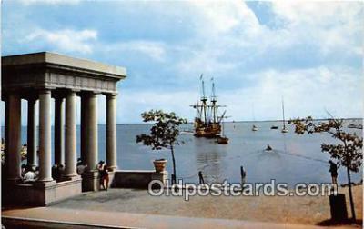 shi020799 - Mayflower II Plymouth Harbor, Pilgrims 1620 Ship Postcard Post Card