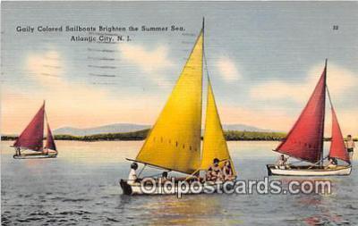 shi020828 - Gaily Colored Sailboats Atlantic City, NJ USA Ship Postcard Post Card