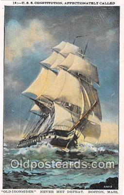 shi020872 - USS Constitution Old Ironsides Never Met Defeat, Boston, Mass USA Ship Postcard Post Card