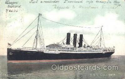 shi024009 - T.S.S. Columbia Anchor - Donaldson Line, Lines Ship Ships Postcard Postcards