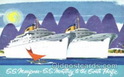 shi032007 - S.S. Mariposa S.S. Monterey Matson Lines Ship Ships Postcard Postcards