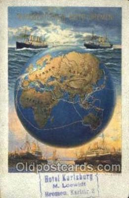 shi035588 - Poster Ad Norddeutscher Lloyd, Breman, Ship Postcard Postcards