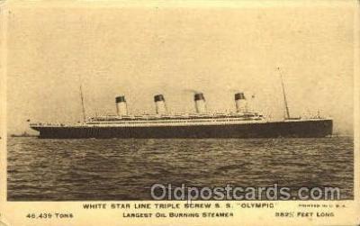 shi042080 - White Star Olympic Ship Postcard Post Card Sister Ship of the Titanic Ship