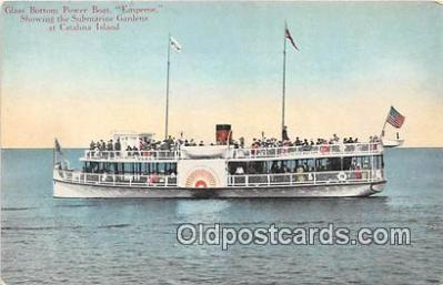 shi045011 - Glass Bottom Power Boat Emperor Catalina Island, California Ship Postcard Post Card