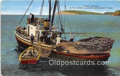 shi045047 - Purse Seining Pacific Northwest Ship Postcard Post Card