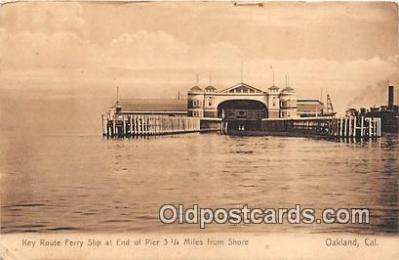 shi045063 - Key Route Ferry Slip Oakland, California USA Ship Postcard Post Card