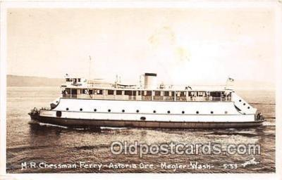 shi045074 - Real Photo - MR Chessman Ferry Astoria Ore, Megler, Washington USA Ship Postcard Post Card