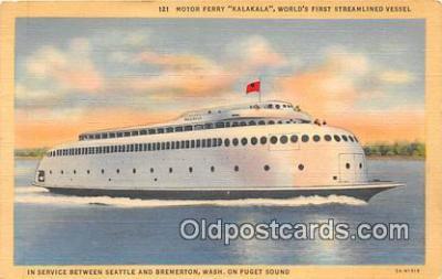 shi045104 - Motor Ferry Kalakala Seattle, Washington USA Ship Postcard Post Card