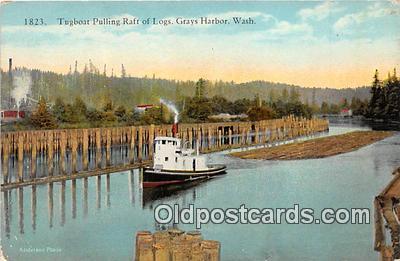 shi045108 - Tugboat Pulling Raft of Lgos Grays Harbor, Washington Ship Postcard Post Card