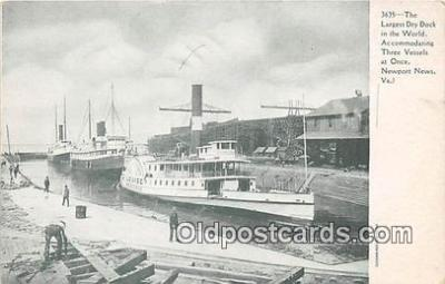 shi045134 - Largest Dry Dock in the World Newport News, VA USA Ship Postcard Post Card