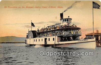 shi045149 - Excursion, Steamer Idaho Coeur d'Alene, Idaho Ship Postcard Post Card