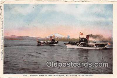 shi045193 - Pleasure Boats Lake Washington, Mt Rainier Ship Postcard Post Card