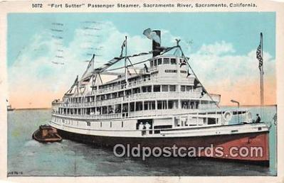 shi045207 - Fort Sutter, Passenger Steamer Sacramento, California Ship Postcard Post Card
