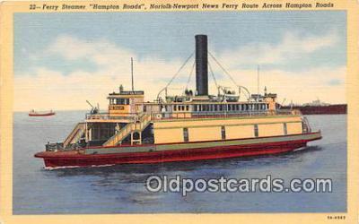 shi045248 - Ferry Steamer Hampton Roads Norfolk Newport News Ferry Route Ship Postcard Post Card