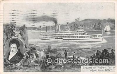 shi045272 - Steamboat Robert Fulton Hudson River 1909 Ship Postcard Post Card