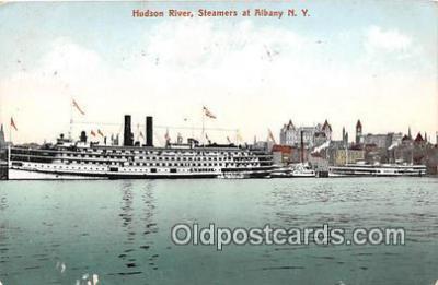 shi045280 - Hudson River Steamers at Albany NY USA Ship Postcard Post Card
