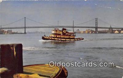 shi045306 - Delaware River Bridge Camden, NJ USA Ship Postcard Post Card