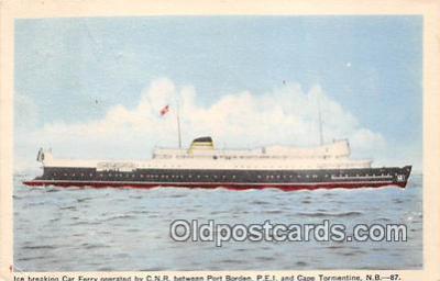shi045333 - Ice Breaking Car Ferry Cape Tormentine, NB Ship Postcard Post Card