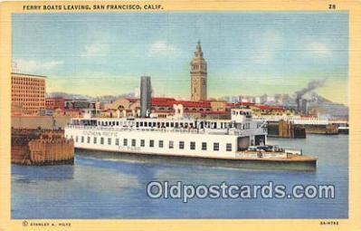 shi045340 - Ferry Boats Leaving San Francisco, California USA Ship Postcard Post Card