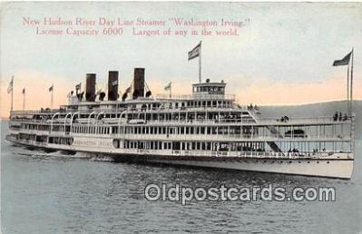 shi045365 - New Hudson River Day Line Steamer Washington Irving Ship Postcard Post Card