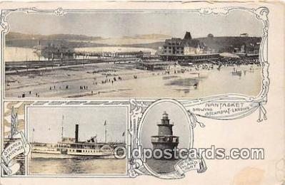 shi045392 - Steamboat Landing Nantasket Ship Postcard Post Card
