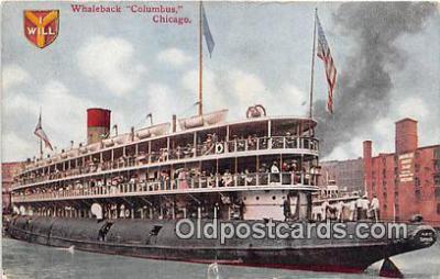 shi045396 - Whaleback Columbus Chicago Ship Postcard Post Card