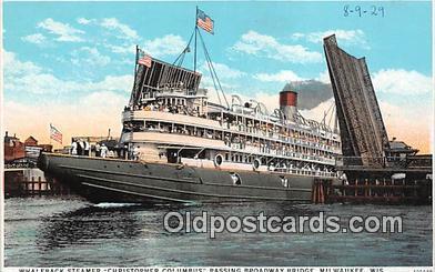 shi045401 - Whaleback Steamer Christopher Columbus Milwaukee, Wisconsin Ship Postcard Post Card