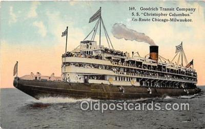 shi045402 - Goodrich Transit Company, SS Christopher Columbus Chicago, Milwaukee Ship Postcard Post Card
