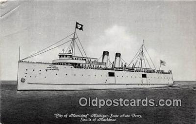 shi045406 - City of Munising, Michigan State Auto Ferry Straits of Mackinac Ship Postcard Post Card