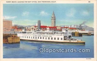 shi045427 - Ferry Boats Leaving San Francisco, California USA Ship Postcard Post Card