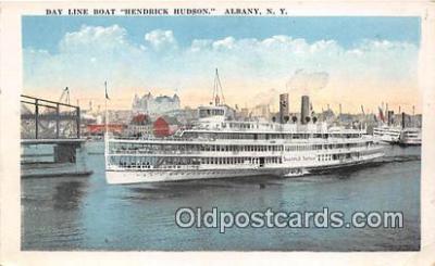 shi045461 - Day Line Boat Hendrick Hudson Albany, NY Ship Postcard Post Card