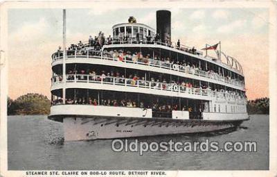 shi045471 - Steamer Ste Claire Detroit River Ship Postcard Post Card