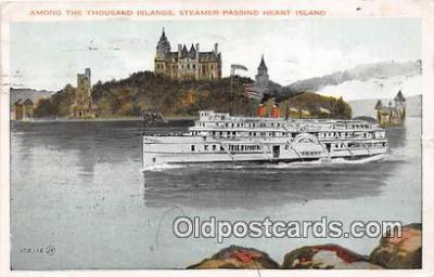 shi045472 - Steamer Passing Heart Island Ship Postcard Post Card