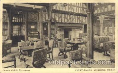 shi050015 - R.M.S. Berengaria, First Class smoking room Ship Ships, Interiors, Postcard Postcards