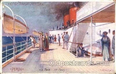 shi050025 - Transatlantique, Perou Ship Ships, Interiors, Postcard Postcards