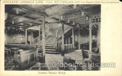shi050046 - T.S.S. Rotterdam, Lower Smoke Room Ship Ships, Interiors, Postcard Postcards