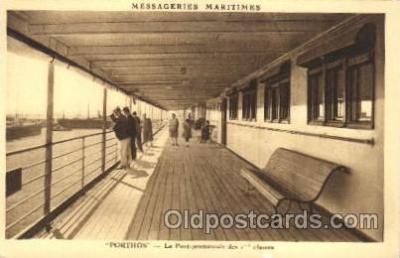 shi050060 - Porthos, le pont premenade des first class Ship Ships, Interiors, Postcard Postcards