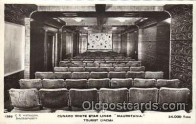 shi050064 - Mauretania, tourist cinema Ship Ships, Interiors, Postcard Postcards