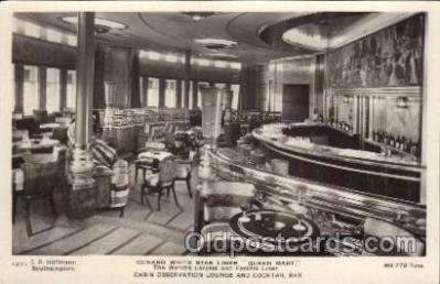 shi050067 - Queen Mary, Cabin observation lounge and cocktail bar Ship Ships, Interiors, Postcard Postcards