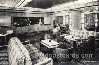 shi050070 - P.&O. Himalaya, First class verandah caf? Ship Ships, Interiors, Postcard Postcards