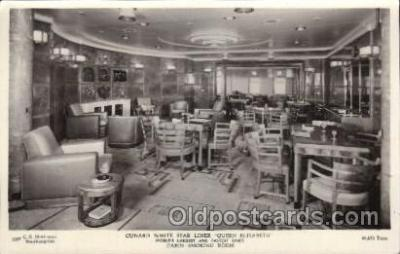 shi050074 - Queen Elizabeth, cabin smoking room Ship Ships, Interiors, Postcard Postcards