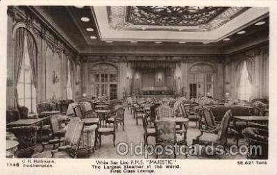 shi050078 - R.M.S. Majestic First class lounge Ship Ships, Interiors, Postcard Postcards