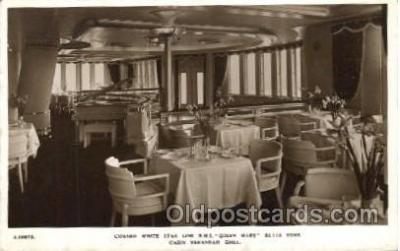 shi050079 - Queen Mary, Cabin Verandah Grill Ship Ships, Interiors, Postcard Postcards