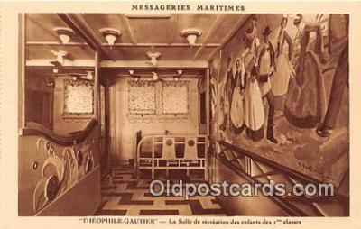 shi050180 - Theophile Gautier, La Salle De Recreation des Enfants Des Classes Messageries Maritimes Ship Postcard Post Card