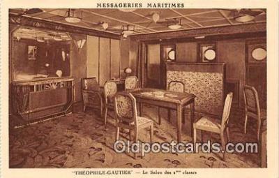 shi050185 - Theophile Gautier, Le Salon des 2 Classes Messageries Maritimes Ship Postcard Post Card